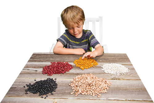 Child counting beans.